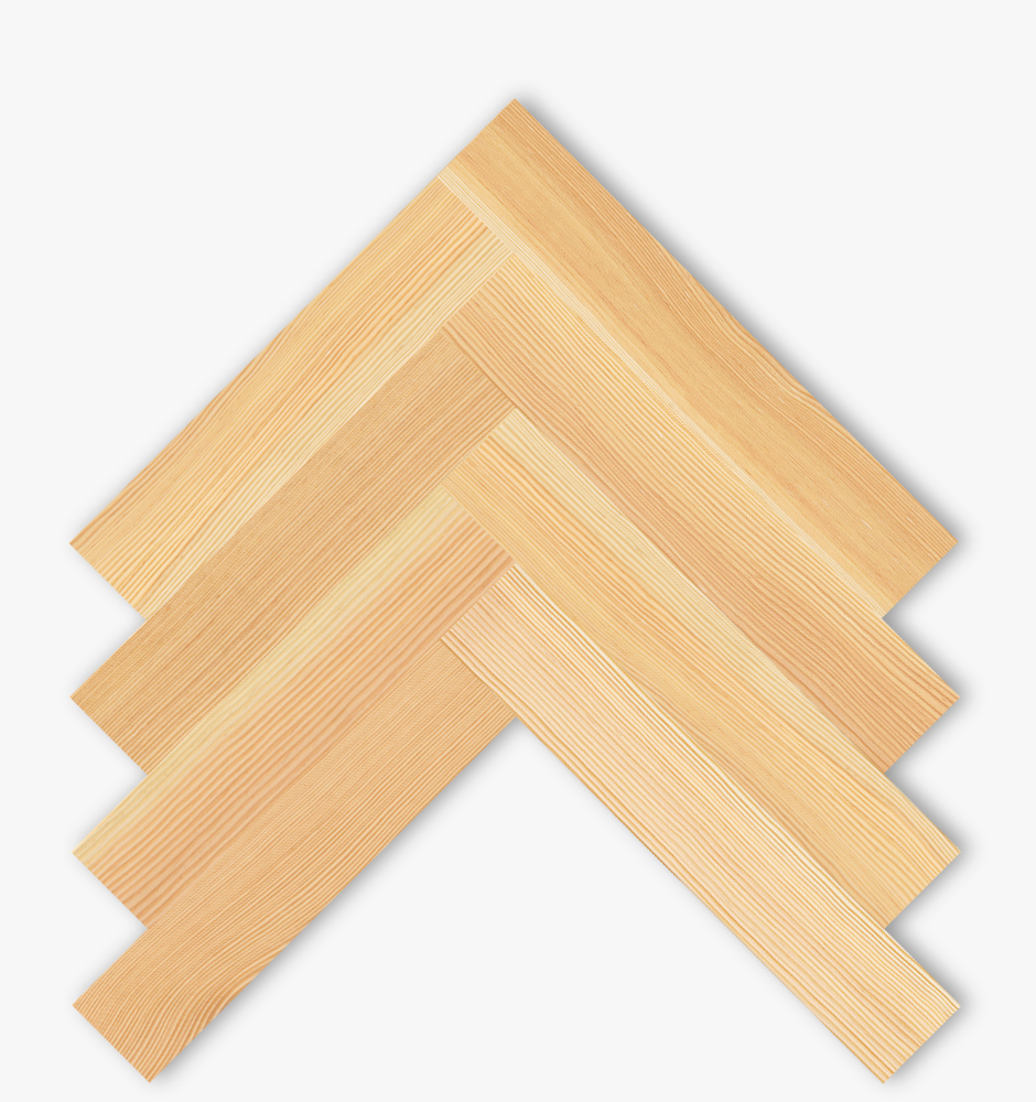 Rift parquet Douglas Kollin 22mm thick, 100mm wide, laid as herringbone