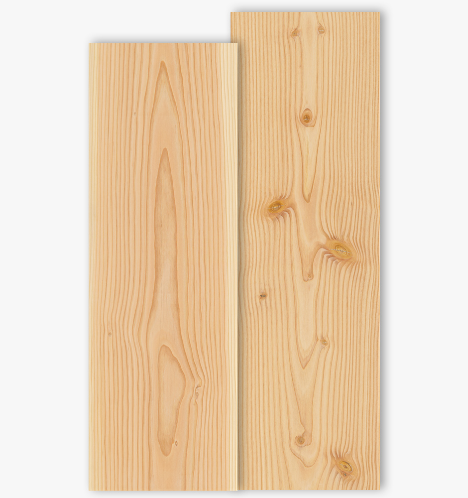 Douglas floor boards with grade type Select and Natur with 300mm width