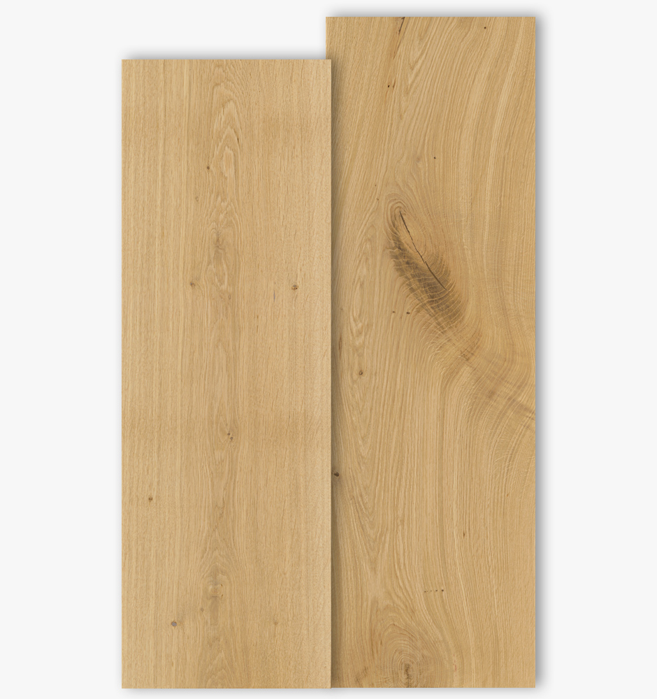 Oak floor boards with grade type Select and Natur with 300mm width