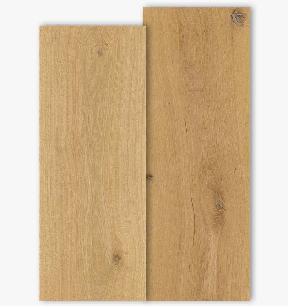Oak floor boards with grade type Select and Natur with 350mm width