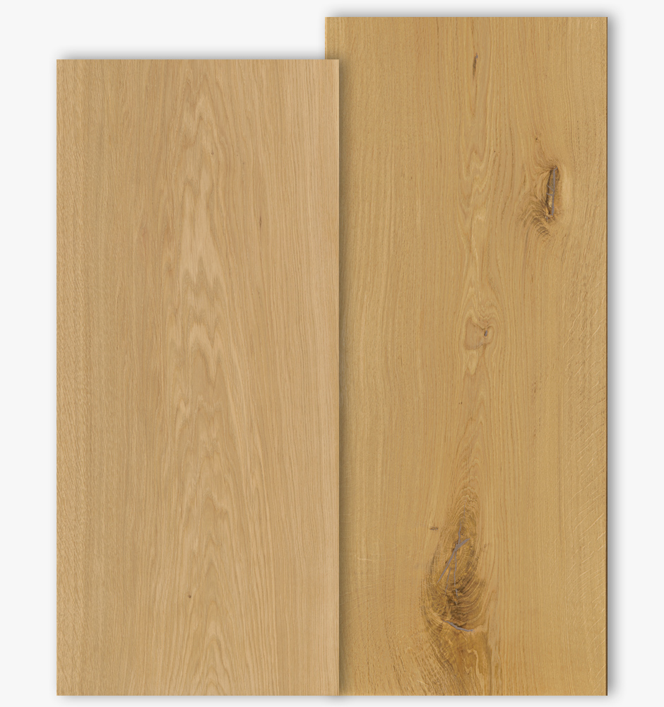 Oak floor boards with grade type Select and Natur with 400mm width
