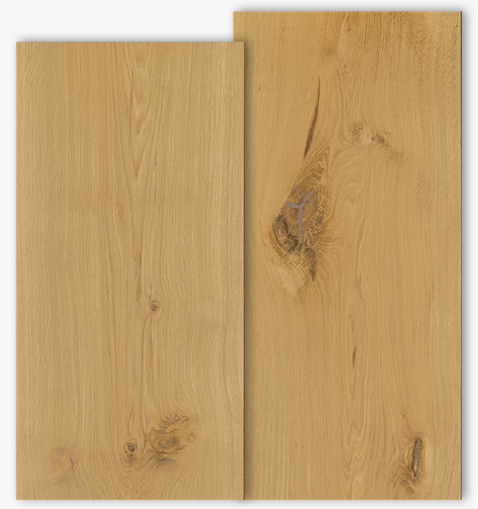 Oak floor boards with grade type Select and Natur with 450mm width