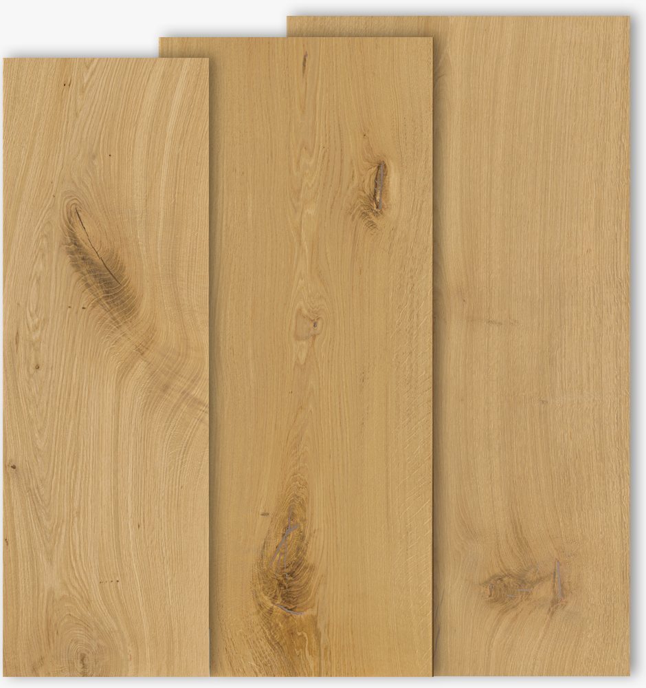Oak floor boards with mixed widths of 300, 400 and 500mm