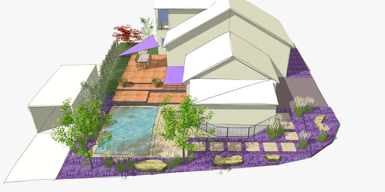 The planning of a wooden terrace as integral element of the garden design by landscape architects