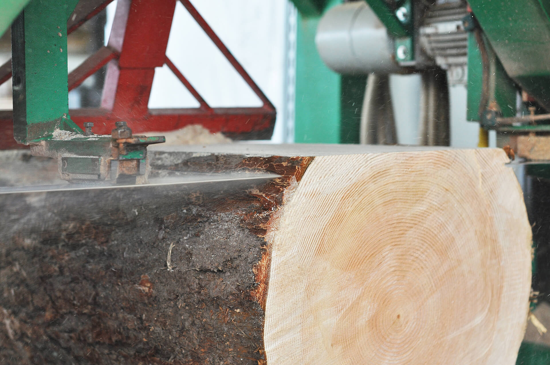 The Douglas trunk is cut into floorboards on a horizontal bandsaw